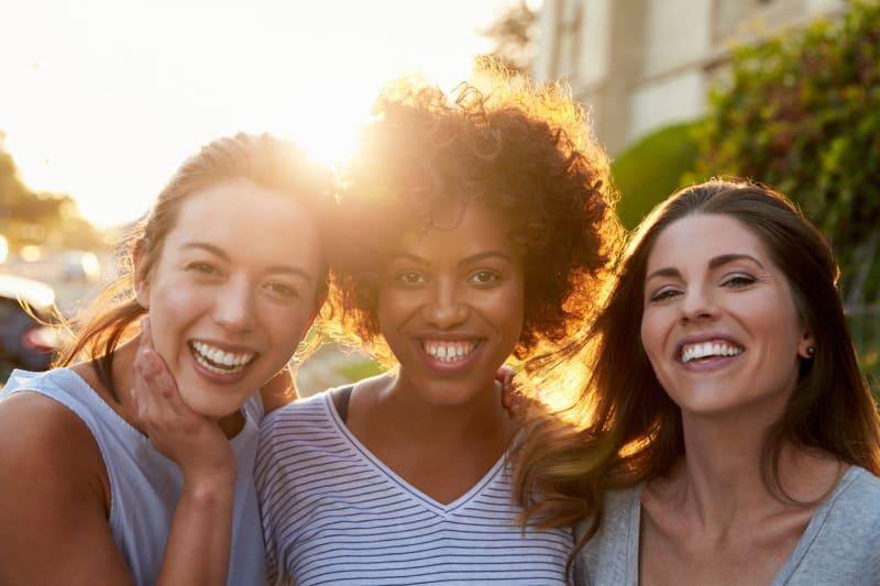 3 happy women